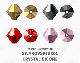 Vector Illustration of Swarovski Bicone 5301 - Digital Clipart Set