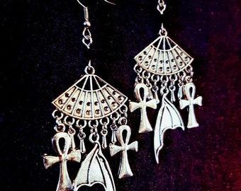Vampire Earrings - gothic vampiric ankh wings goth vampyre dracula nosferatu