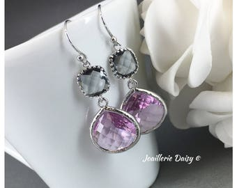 Violet Earrings Bridesmaid Earrings Grey and Purple Lavender Jewelry Mother of Groom Gift Mother of Bride Gift for Her Violet Wedding