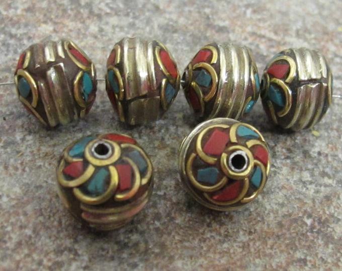 Spiral Whorl design brass bead from Nepal-BD300 - 1 bead