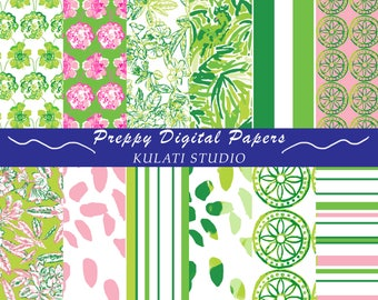 Preppy pink and green pattern papers - art download preppy paper digital paper preppy floral preppy pattern stripes print instant download