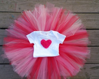 Valentines Set / Heart Shirt/ Valentines Tutu / Pink and Red Tutu/ Heart Tutu Set / Valentines photo outfit / heart tutu outfit / Valentines