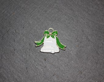 Bell in silver metal and enamel, 28 mm pendant