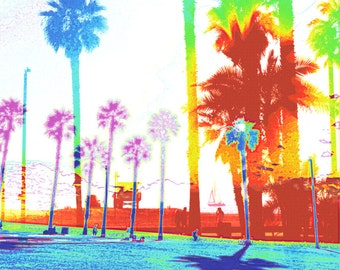 Palm Trees, beach, lifeguard station daylight, Santa Monica, California, Pop Art, Blue, Orange, Yellow, Red Art Photograph Print Photography