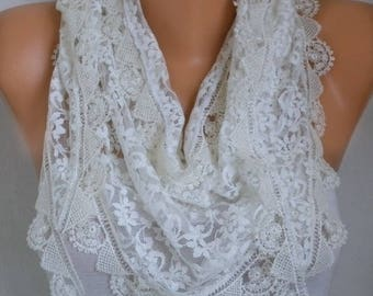 Creamy White Lace Floral Scarf,Bohemian,Gift for her,Wedding Scarf,Bridesmaid Gift,Women Scarves,Fashion Accessories fatwoman