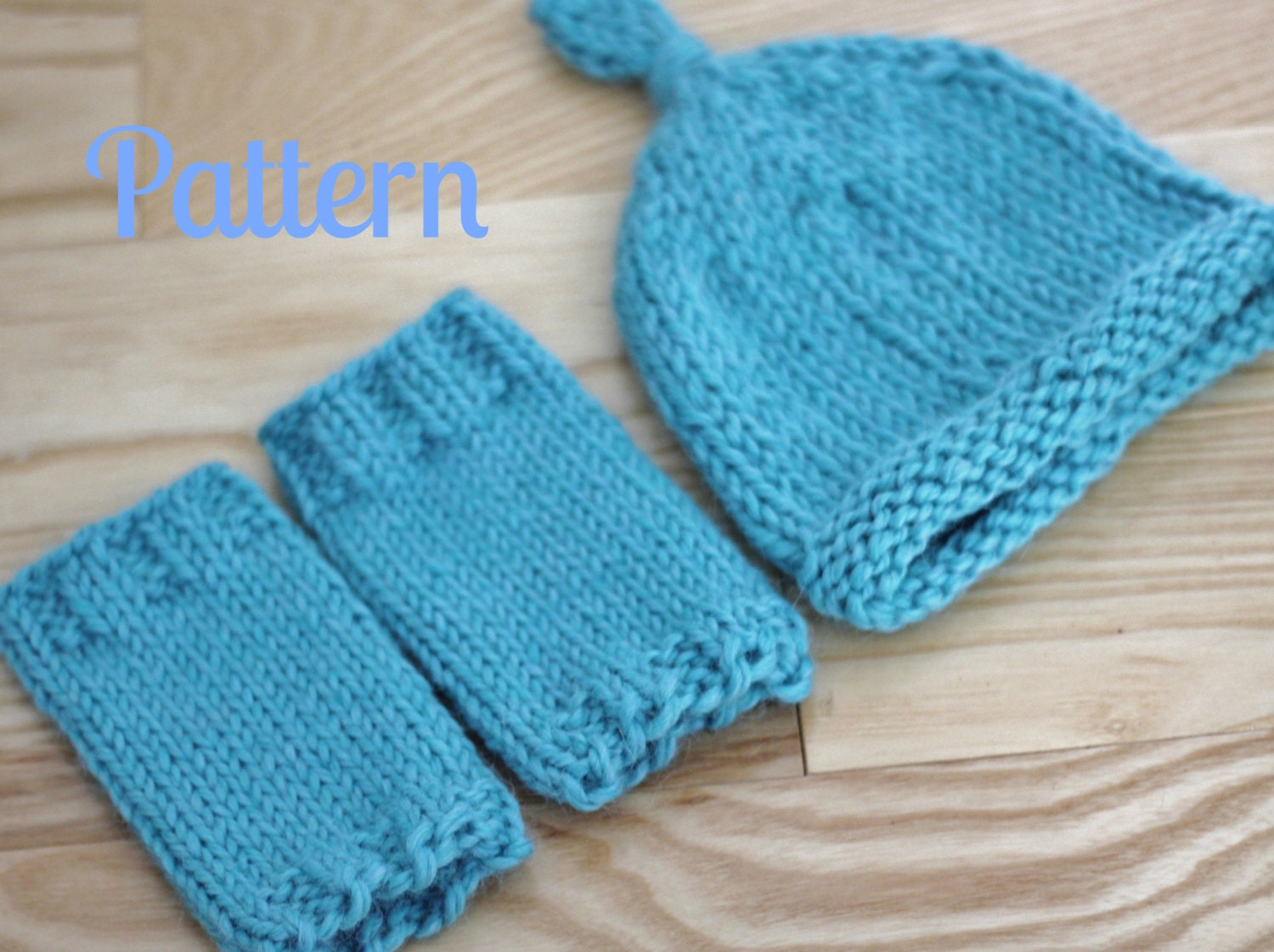 Knitting Pattern Newborn Baby Leg Warmers and Knot Top Hat