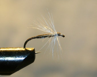 Made in Michigan Fishing Flies - Olive White Spider on Number 10 Hook - Olive thread hard body with white feather hackle - For Him - For Her