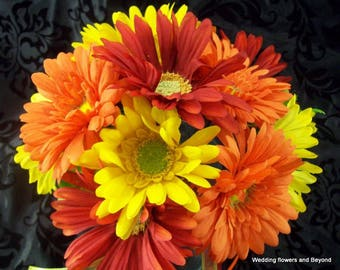 Gerbera Daisy Bridal Bouquet - Yellow Daisy Bouquet - Red and Orange Bridal Bouquet - Brides maid Bouquet- Yellow Daisy Boutonniere -