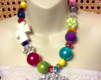 WOW them with this multi stone glass rhinestone crown necklace .