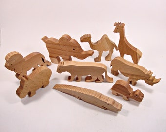 Big Set Animals Toys(9pcs) Animal Figures Wooden Toys Waldorf Toys Learning Toys Nature Table Handmade Toys for Kids Birthday Gift