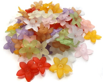 Lucite Flower Beads, Acrylic Flower bead caps, Frosted Lucite Flowers in mixed colours