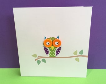 Owl Card - Paper Cut Owl with Button Eyes - Paper Handmade Greeting Card - Birthday Card - Blank Card - Personalised Card - Etsy UK