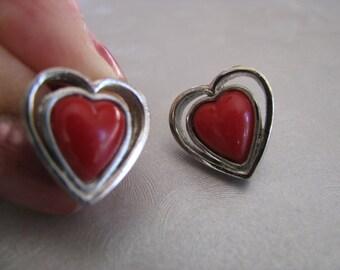 Small Red Heart Earrings - Red Heart Post Earrings - Vintage Studs