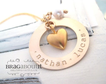 Hand Stamped Jewelry . Personalized Necklace . Brag About It .Gold Necklace . Name Necklace . Heart Charm . Filled With Love
