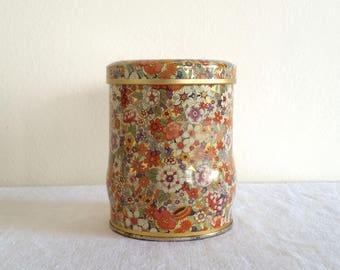 Retro English Round Tin, Floral Tin Box, Made in England, Vintage Daher Tin, Mod Flower Pattern, Cute Small Tin
