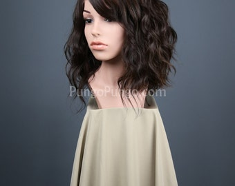 Dark Brown Lace Front Wig + Highlights / Short Curly Hair + Side Part, Bangs Wavy Womens Fashion Style Costume Cosplay / Lady Series LLHAZ11
