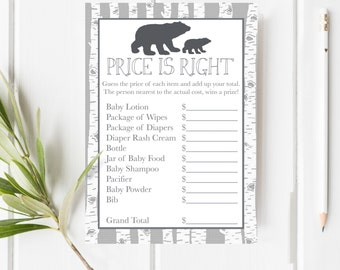 Price Is Right Baby Shower Game, Woodland Baby Shower, Bear Cub Baby Shower, Baby Shower Game, Item 210