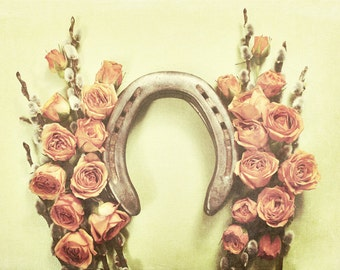 Good Luck photograph, horseshoe, sage, pink, floral, roses, pussy willows, antiques, photography