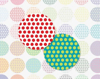 POLKA DOTS - 1 Inch Circle Digital Collage Sheet for Bottle Cap Pendants, Magnets and More (Instant Download No. 103)