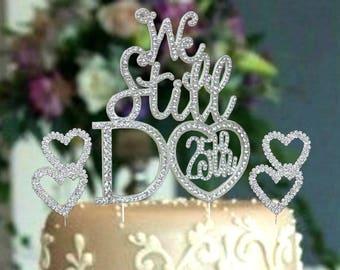 Gold tone 50th wedding anniversray cake topper in rhinestones.