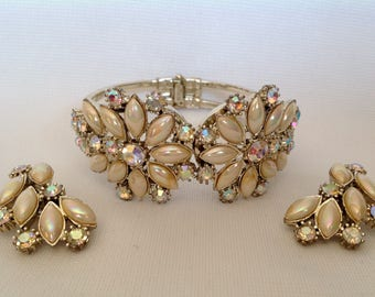 Vintage 1950s/60s Juliana D & E Clamper Bracelet with Matching Earrings