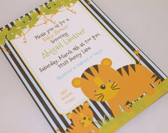 Custom PRINTED Tiger and Cub Baby Shower Invitations - White envelope included - 1.00 each -