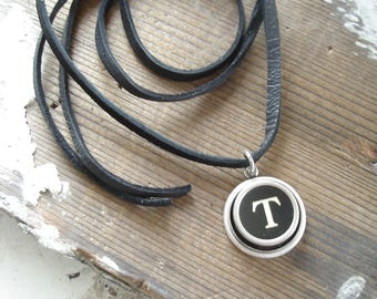 Typewriter Key Jewelry. Letter T Necklace. Vintage Typewriter Key Necklace. Personalized Initial. Adjustable Leather Necklace. Unisex Gift.