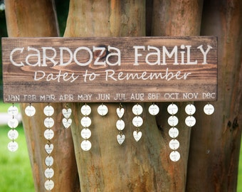 Family Dates to Remember - Personalized Birthday Board - Anniversary gift - Wedding Gift - Rustic Hand Painted Sign - Rustic Home