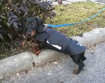 Dachshund Extra Warm Winter Dog Coat - Dog Jacket with underbelly protection - Custom Dog Clothes - Waterproof / Fleece Coat - Custom made