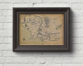 Map of Middle Earth Print - LOTR, Lord of the Rings, The Hobbit, The Two Towers, Tolkien, Poster, Wall art, Cool Gift!