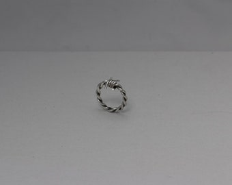 Sterling Silver Antiqued Patina Finish Barbed Wire ring