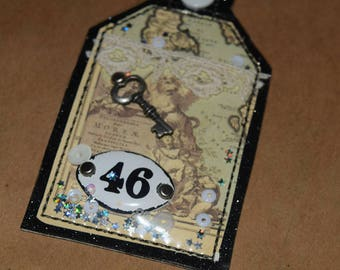 Vintage Charm One of a Kind Mixed Media Tag Keychain
