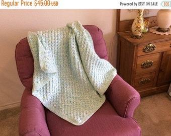 Spring Cleaning Sale Crocheted  Lapghan, Handmade Small Blanket, Wheelchair Lap Robe, Childs Nap Blanket, Toddler Crochet Blanket, Elderly H