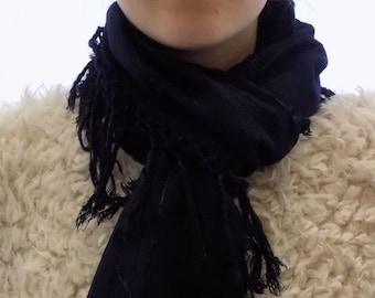 Stunning navy blue scarf, up cycled scarf, infinity scarf, hand dyed scarf, neckwear, soft cotton scarf, great Gift