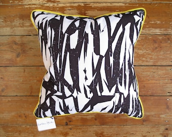 Cushion with Screenprinted Blk+Wht Abstract Design
