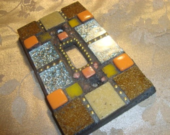 MOSAIC Light Switch Plate -  Single Switch, Wall Plate, Home Decor, tan, Silver, Beige, Orange, Yellow, Gold