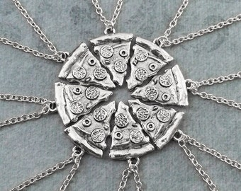 Pizza Friendship Necklaces Set of 8 Pepperoni Pizza Necklace Pizza Jewelry Silver Pizza Slice Necklace Bestfriends Necklace Whole Pizza