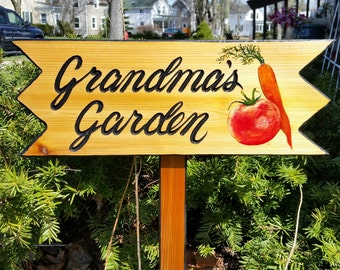 Garden Signs, Personalized Garden Signs,  Custom Garden Sign  Mothers Day Gift  Grandmas Garden Grandpas Garden Pop Pops Garden Nanas Garden