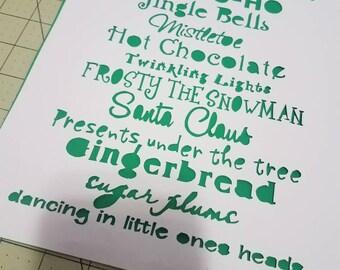 Christmas poem, papercut, decoration, decor, wall art, paper art, home decor, Christmas, holiday, Santa, poem
