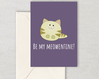 Cute Printable Valentine - Cute Kitten Card - Be My Meowentine - Instant Download - For Cat Lover - Valentine's Day
