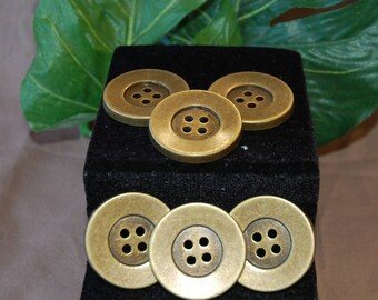 6 metal buttons old gold 3.8 cm