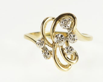 10K Wavy Curvy Diamond Inset Accented Statement Ring Size 3 Yellow Gold