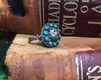 Vintage 1940s Native American Indian sterling silver and turquiose ring