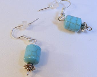 Silver Turquoise Drum Earrings