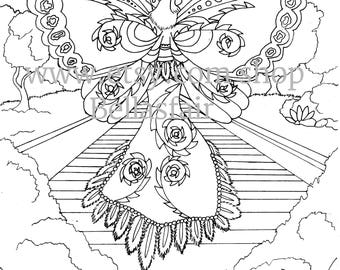 Fairy Woman, Mythical, Coloring page, wing's,