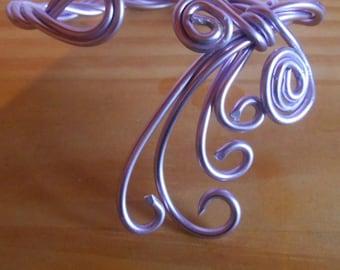 Aluminium wedding bracelet spiral purple arabesque