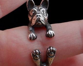 Boston Terrier Ring, Sterling Silver Ring, Boston Terrier Dog Ring, Adjustable Ring, Cute Animal Ring, Handmade Dog Jewelry, Animal Jewelry