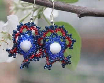 blue earrings net earrings glass bead earrings gift mom tribal earrings gifts under 25 dangle earrings earrings for women bohemian earrings