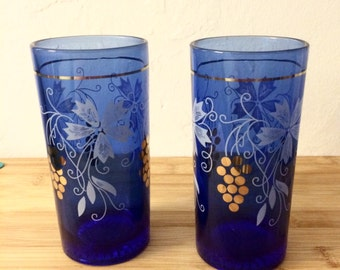 Cobalt Blue Water Glasses - Blue Glasses with Gold Grape Pattern - 1930s Water Glasses - Art Deco Style Kitchen - Antique Blue Cups