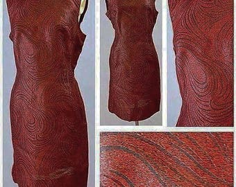 SALE****Late 1950s Oxblood Red Lurex Shift Dress with Swirl Design!